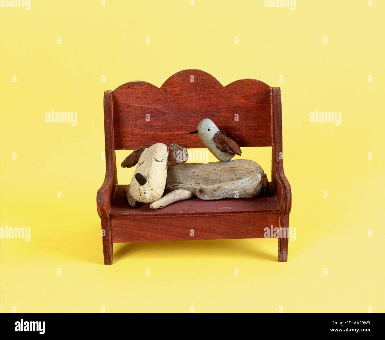 Illustration 3D Dog and Bird - Stock Image