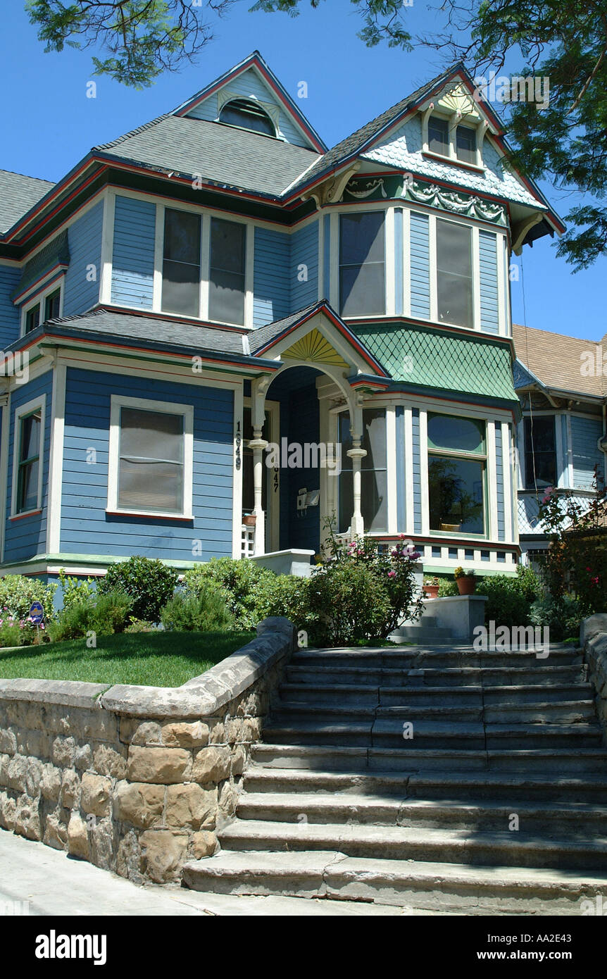 Victorian House, Angelino Heights, Los Angeles, California - Stock Image