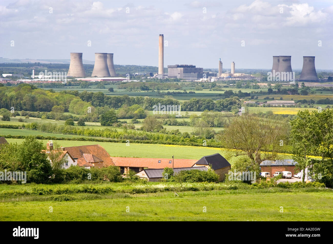 Didcot Power Station viewed from Wittenham Clump Oxfordshire - Stock Image
