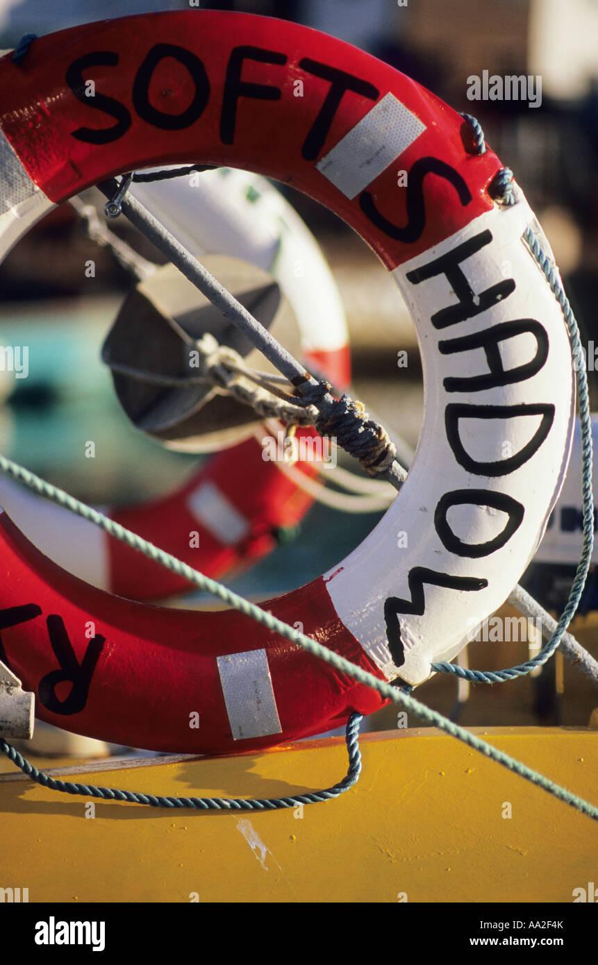 Lifebuoys on a boat Stock Photo