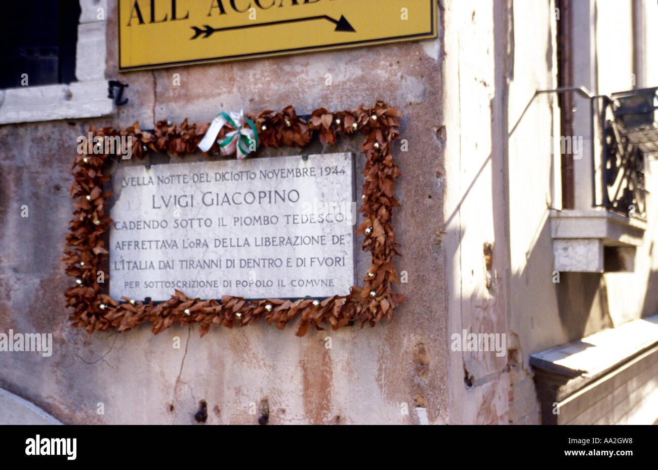 Italy, Venice, San Marco, commemorative marble plaque with decorative surround Stock Photo