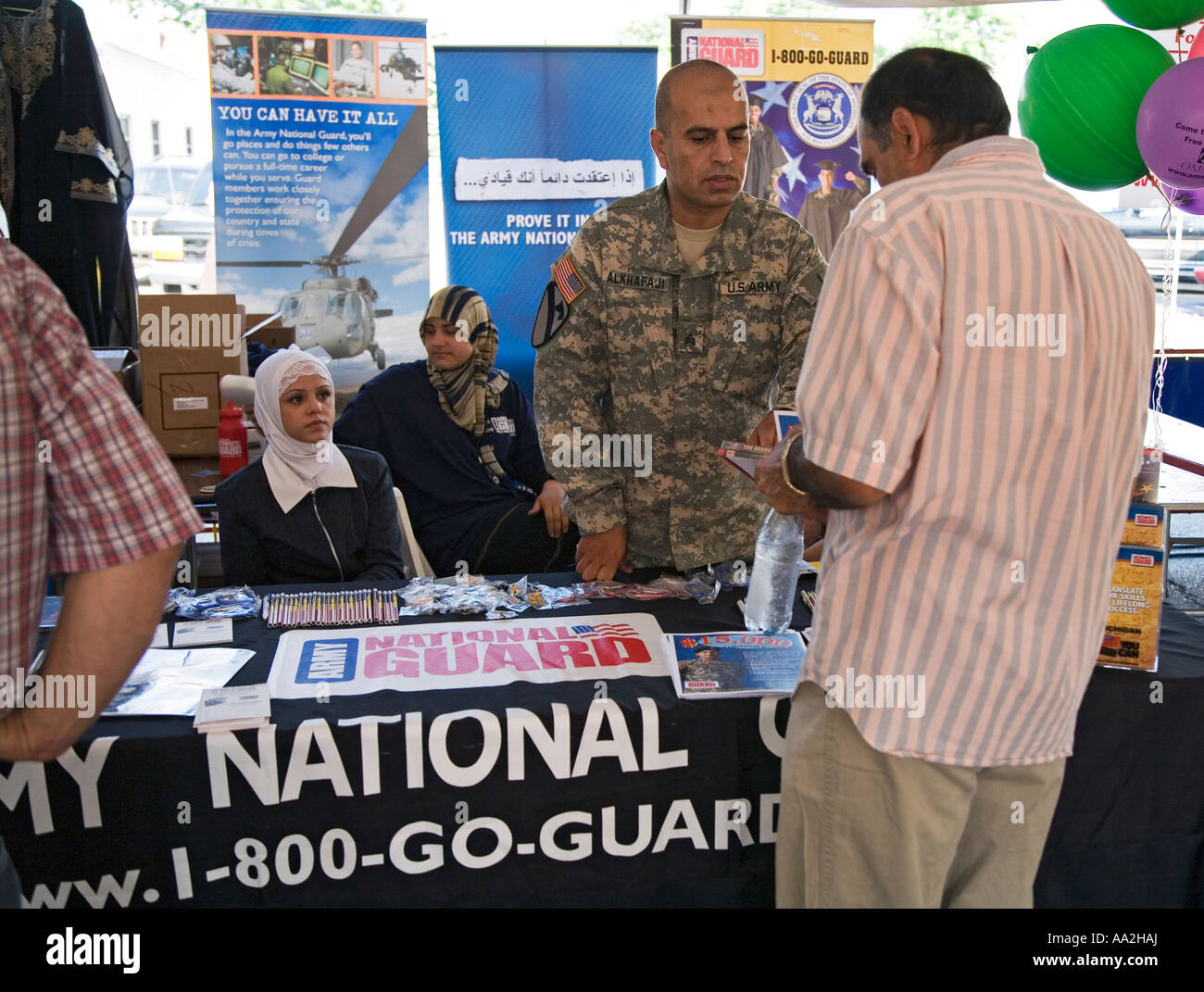 Dearborn Michigan A recruiting booth for the Army National Guard at the Arab International Festival - Stock Image