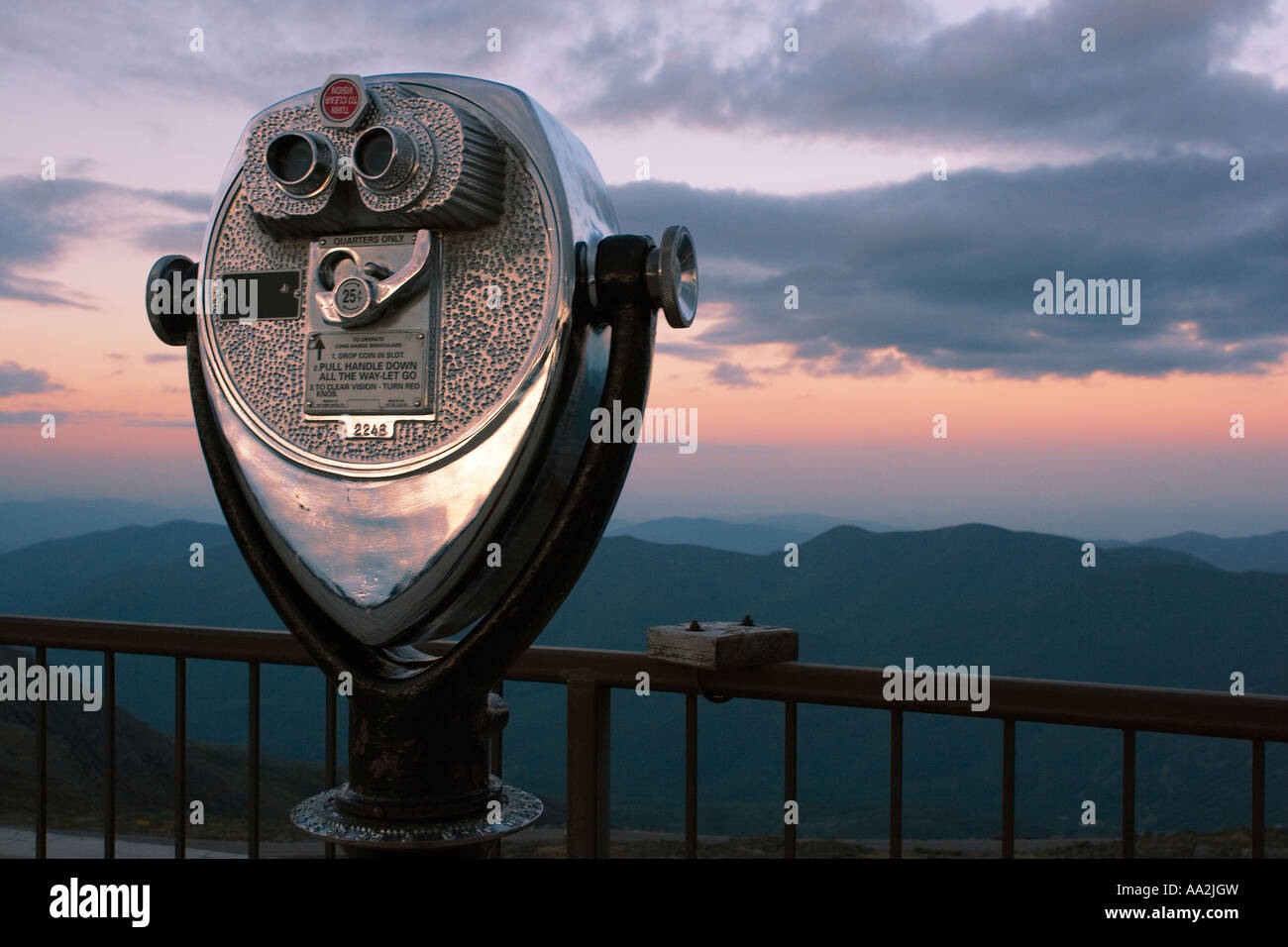 Viewing scope at the Summit of Mt Washington New Hampshire United States - Stock Image