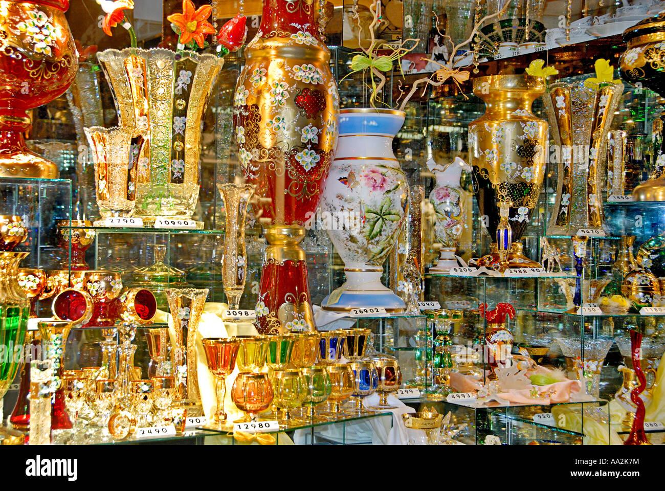 Bohemian glass, Prague, Czech Republic - Stock Image
