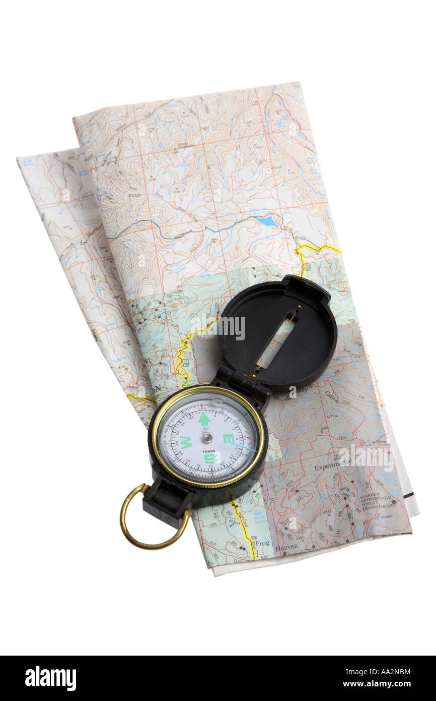 Compass and Map cut out on white background - Stock Image