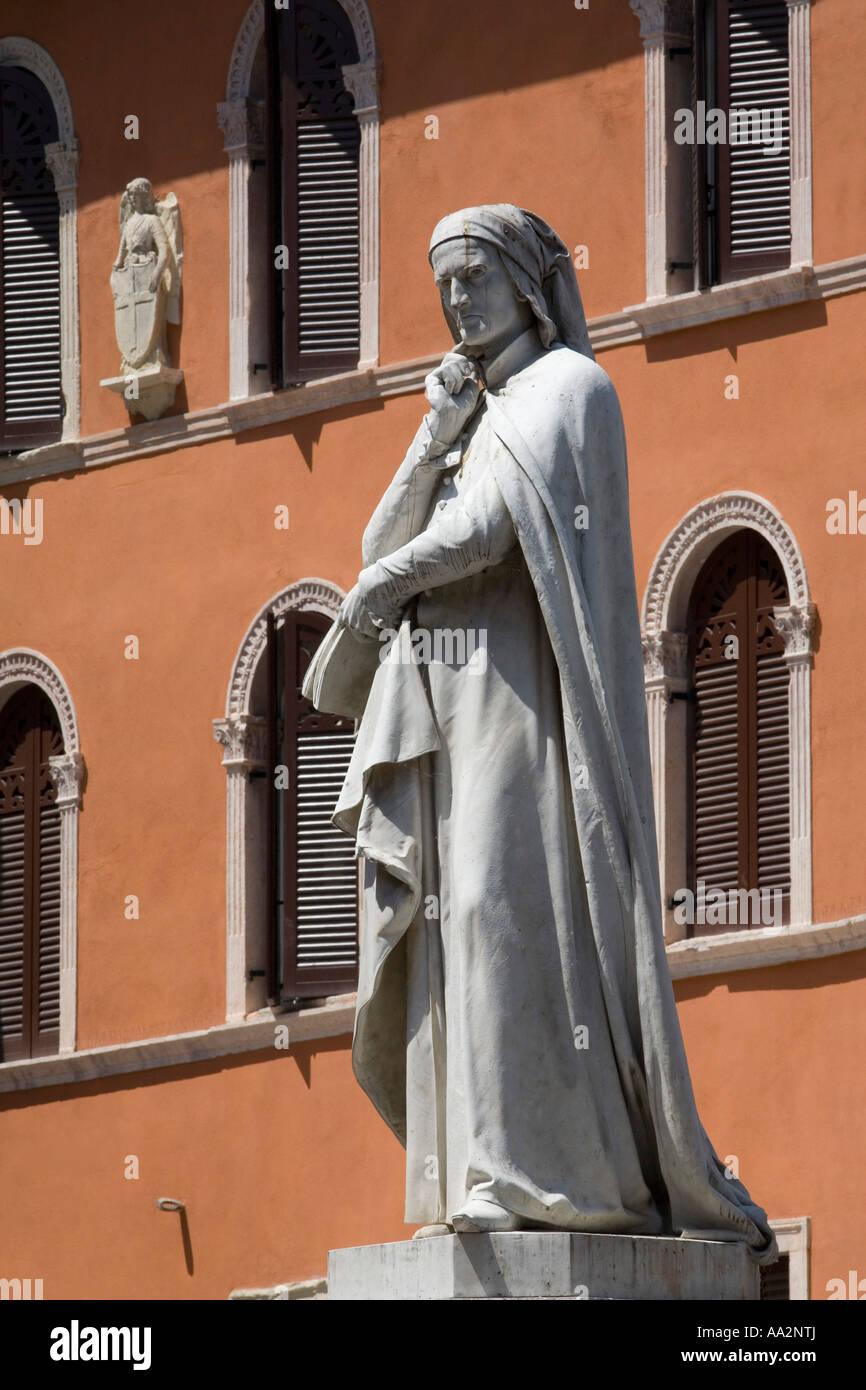 Statue of Dante Alighieri in Piazza dei Signore Verona Venetia Italy - Stock Image