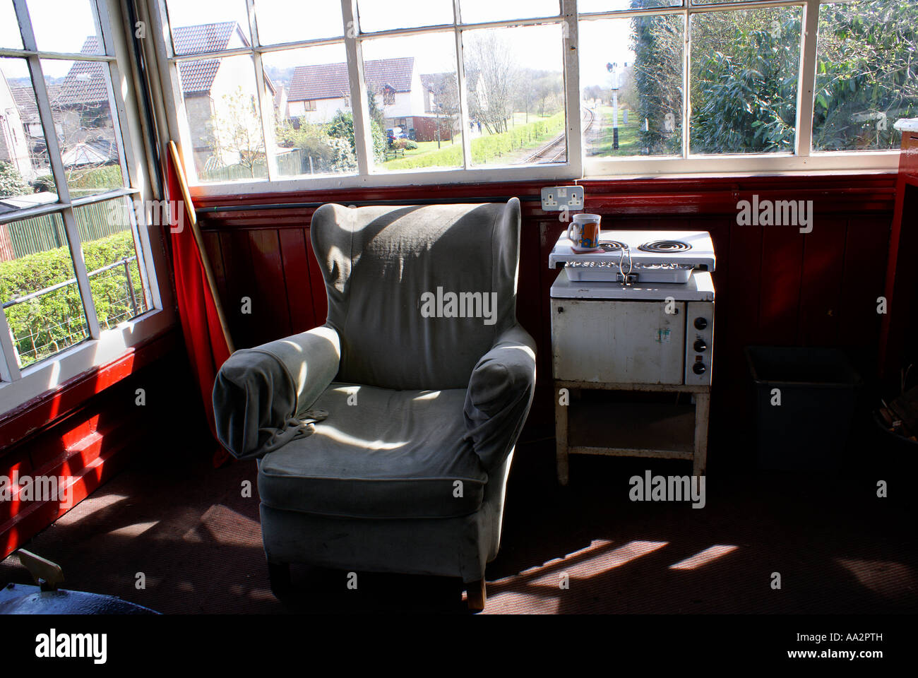 interior of darley dale signal box - Stock Image
