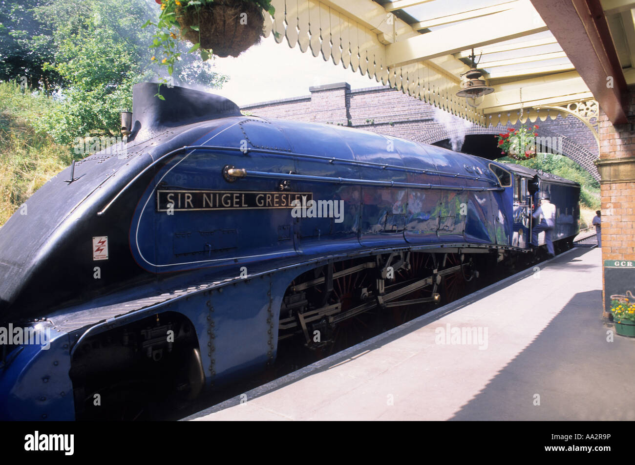 Sir Nigel Gresley Steam Engine Streamline Train Gressley Pacific built 1937 LNER 60007 Rothley Leicestershire English - Stock Image