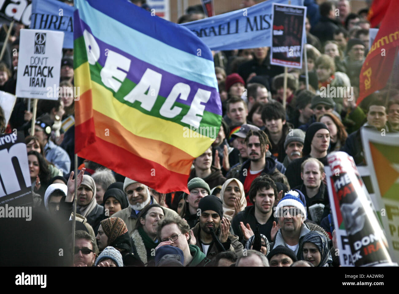 Peace protesters at anti-war demo in London UK - Stock Image