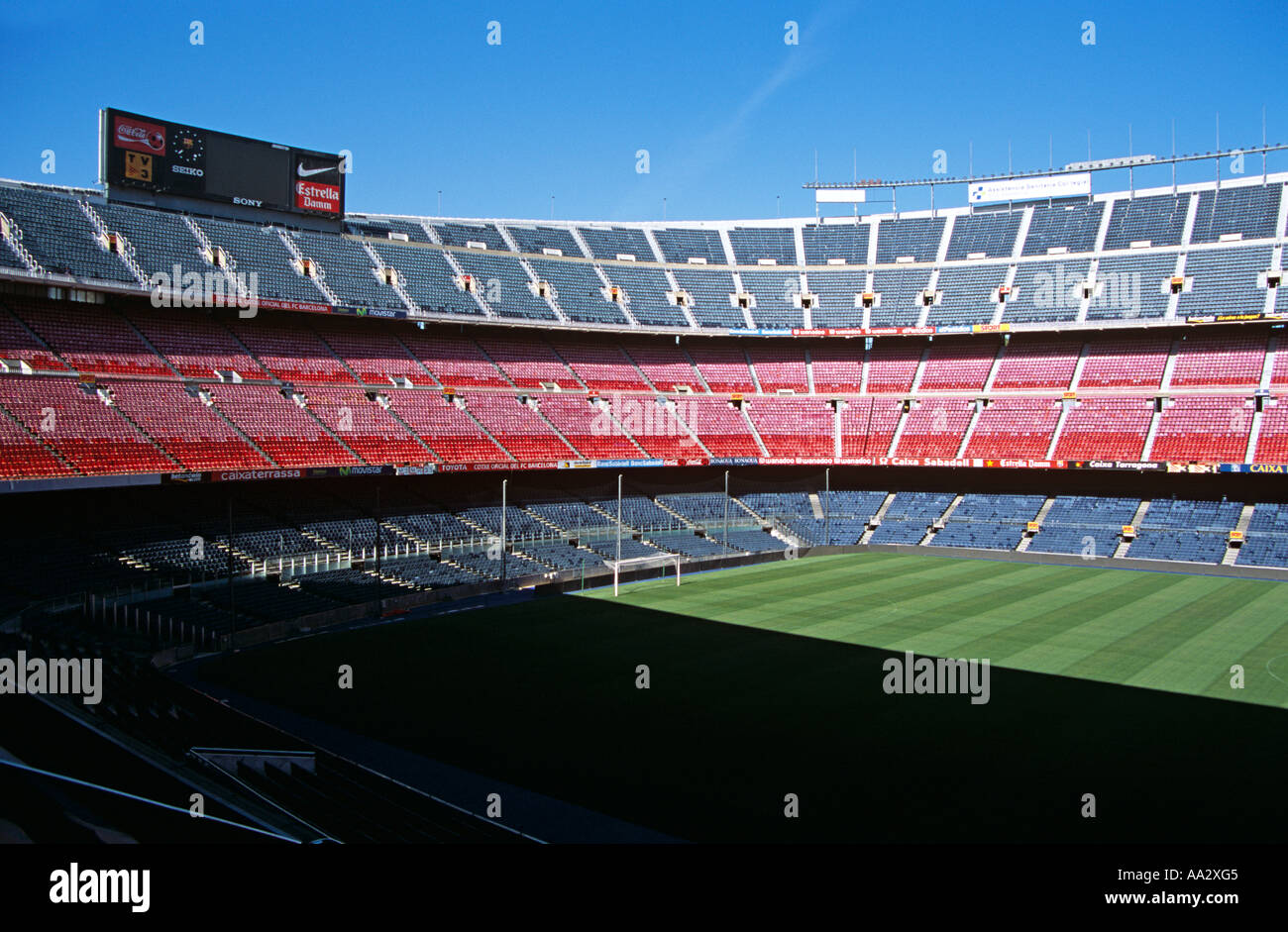 View of football pitch, Nou Camp Stadium, Barcelona Football Club, Barcelona, Spain - Stock Image