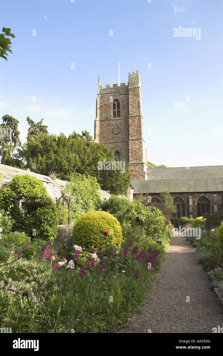 Dunster Church Garden Exmoor Somerset UK May Stock Photo