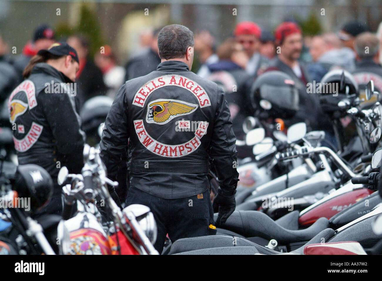 Hells Angels Funeral Motorcycle club members at funeral for member who was gunned down - Stock Image