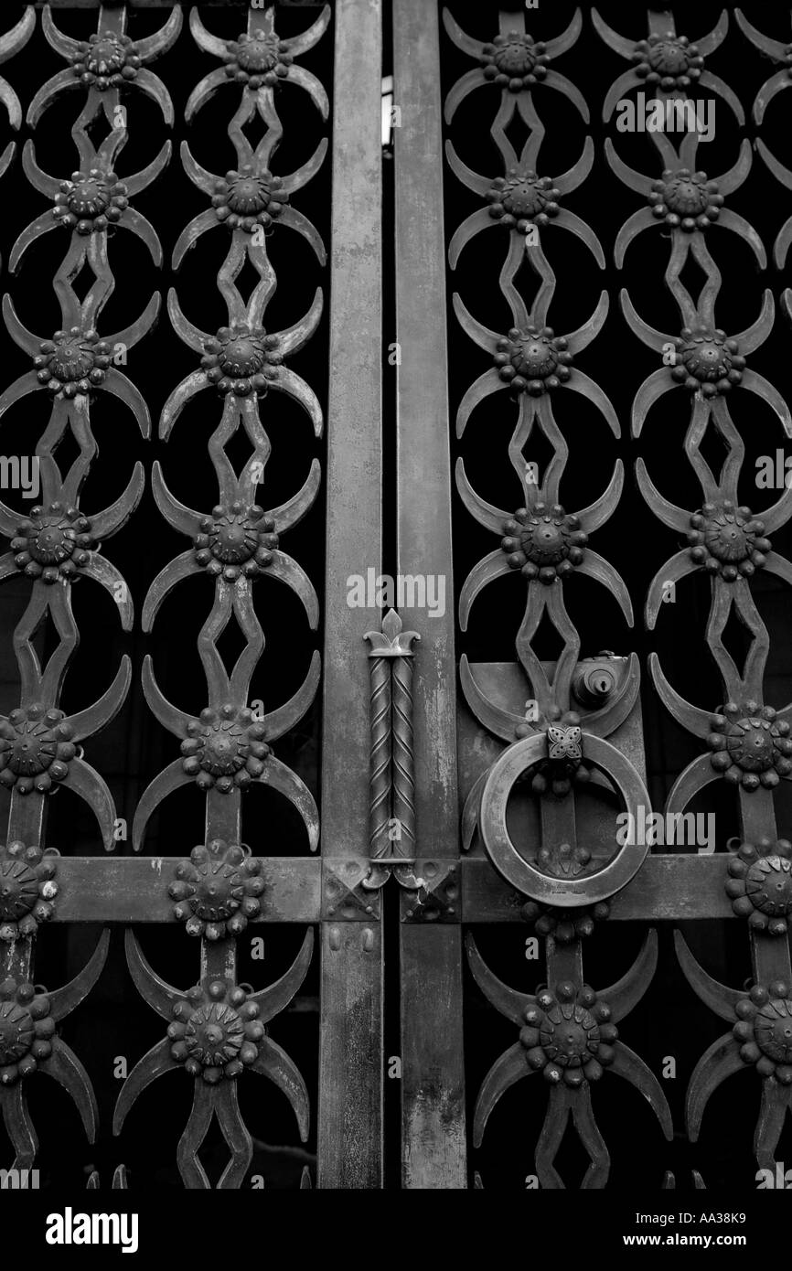 Metal doors locked and secured. Safe and secure. - Stock Image