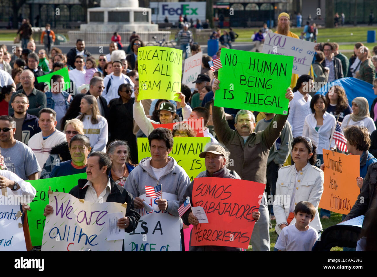 New Haven Connecticut, USA Immigrants protest US Government immigration laws. Illegal Immigration Issues. - Stock Image