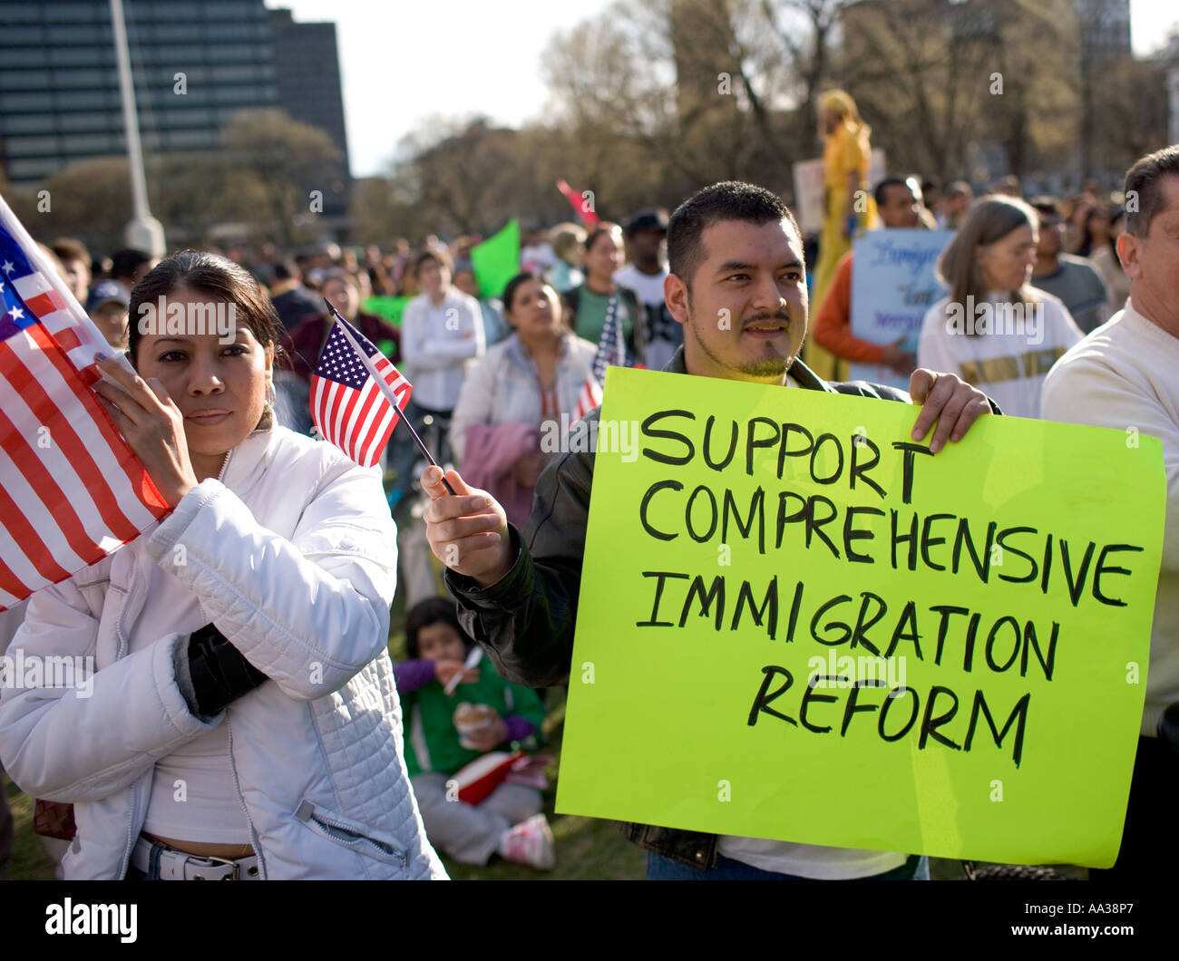 New Haven Connecticut Immigrants protest US Government immigration laws on the New Haven Green Illegal Immigration - Stock Image