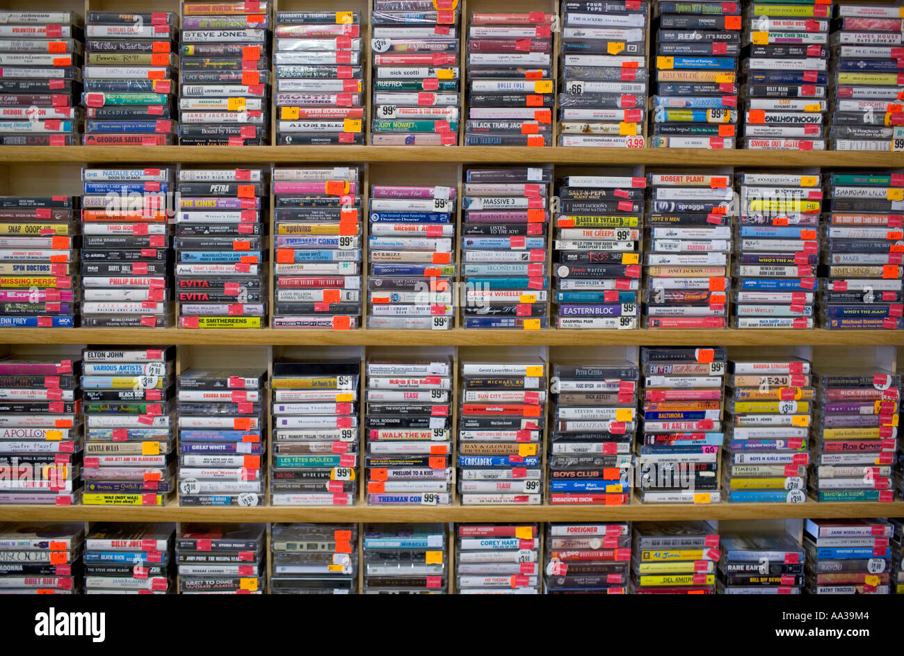 Music Cassette Tapes in store - Stock Image