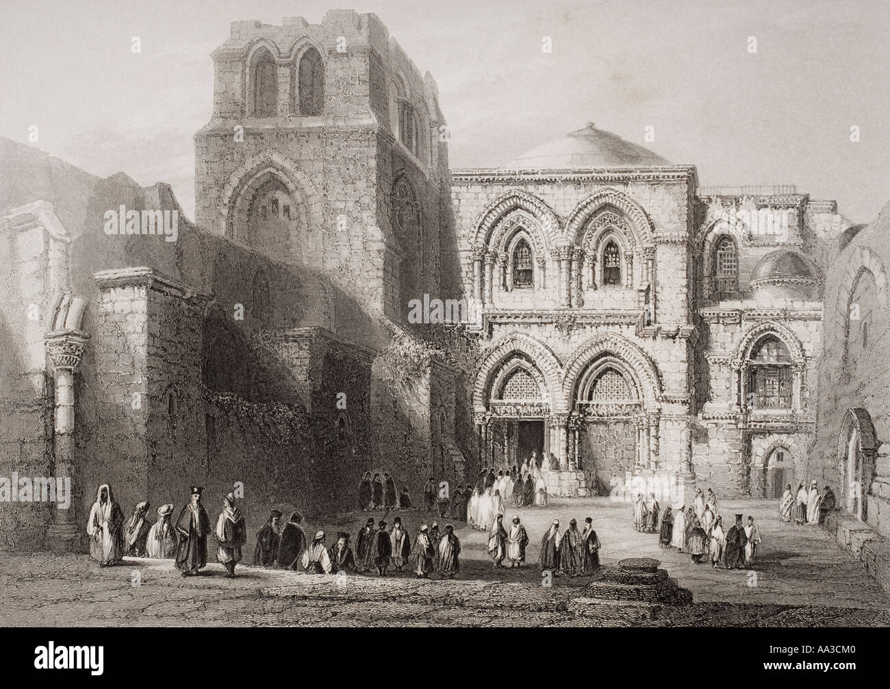Church of the Holy Sepulchre Jerusalem Original tomb of Godfrey of Bouillon Engraved by E Challis after W H Bartlett - Stock Image