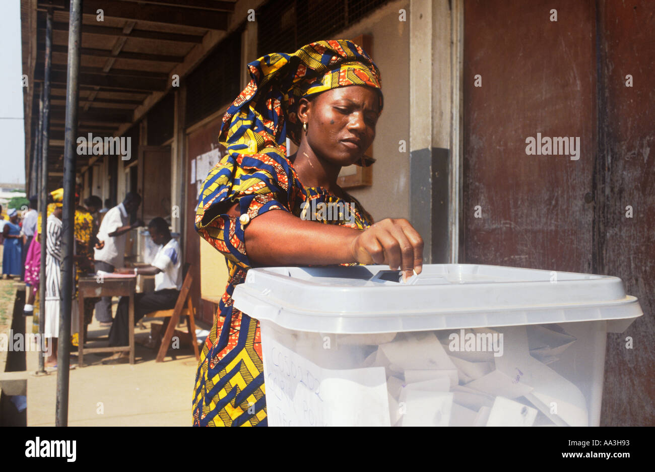 Voting in the 1996 presidential and parliamentary elections using a transparent ballot box Accra Ghana - Stock Image