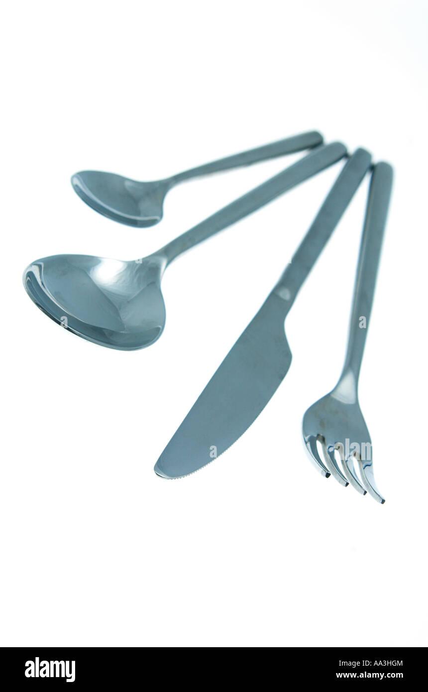 array of cutlery knife fork table spoon teaspoon Stock Photo ...