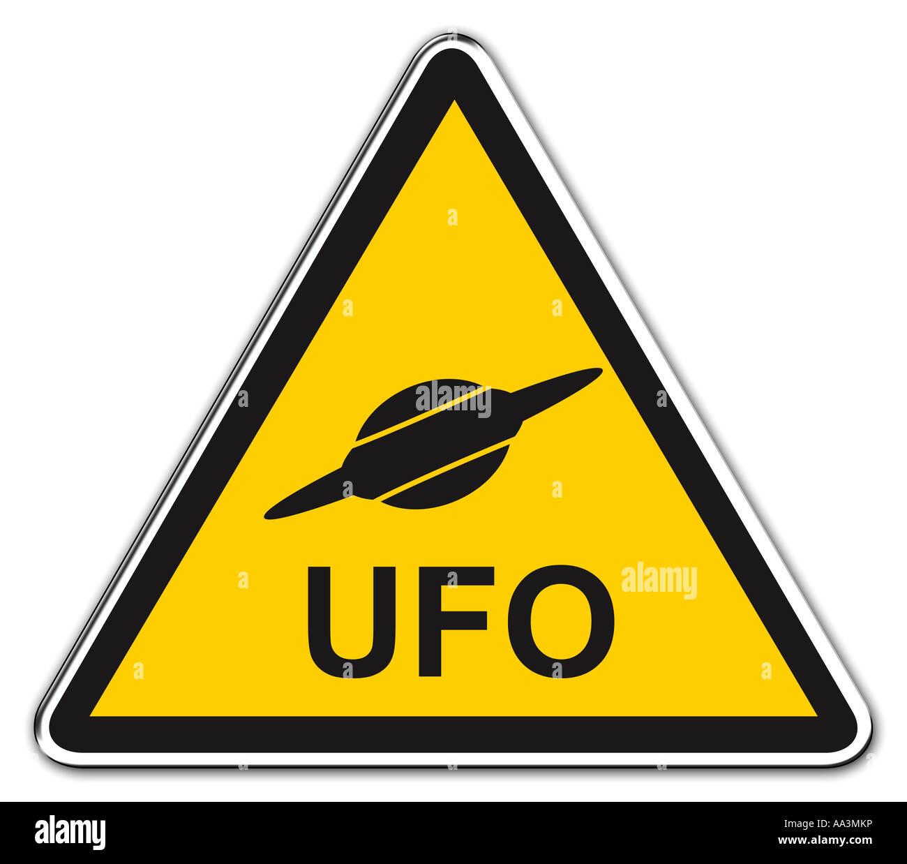 UFO warning - Stock Image