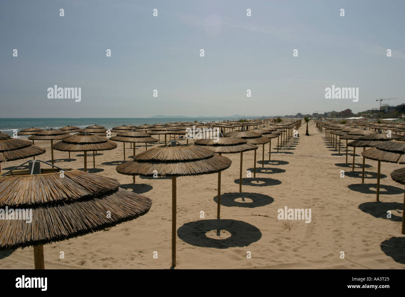 Parasols on the beach in Rimini Northern Italy Stock Photo