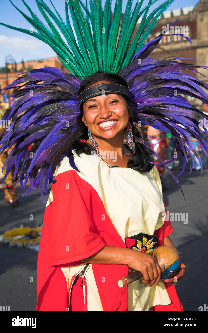 Female Mexican Indian in traditional costume and headdress ...