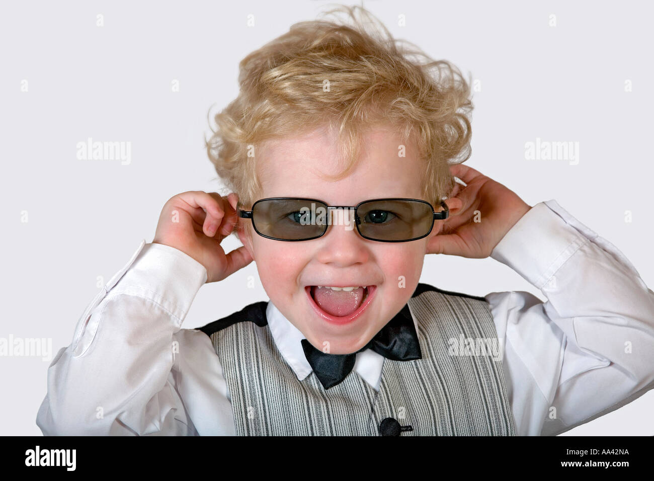 Little manager with sunglasses Stock Photo