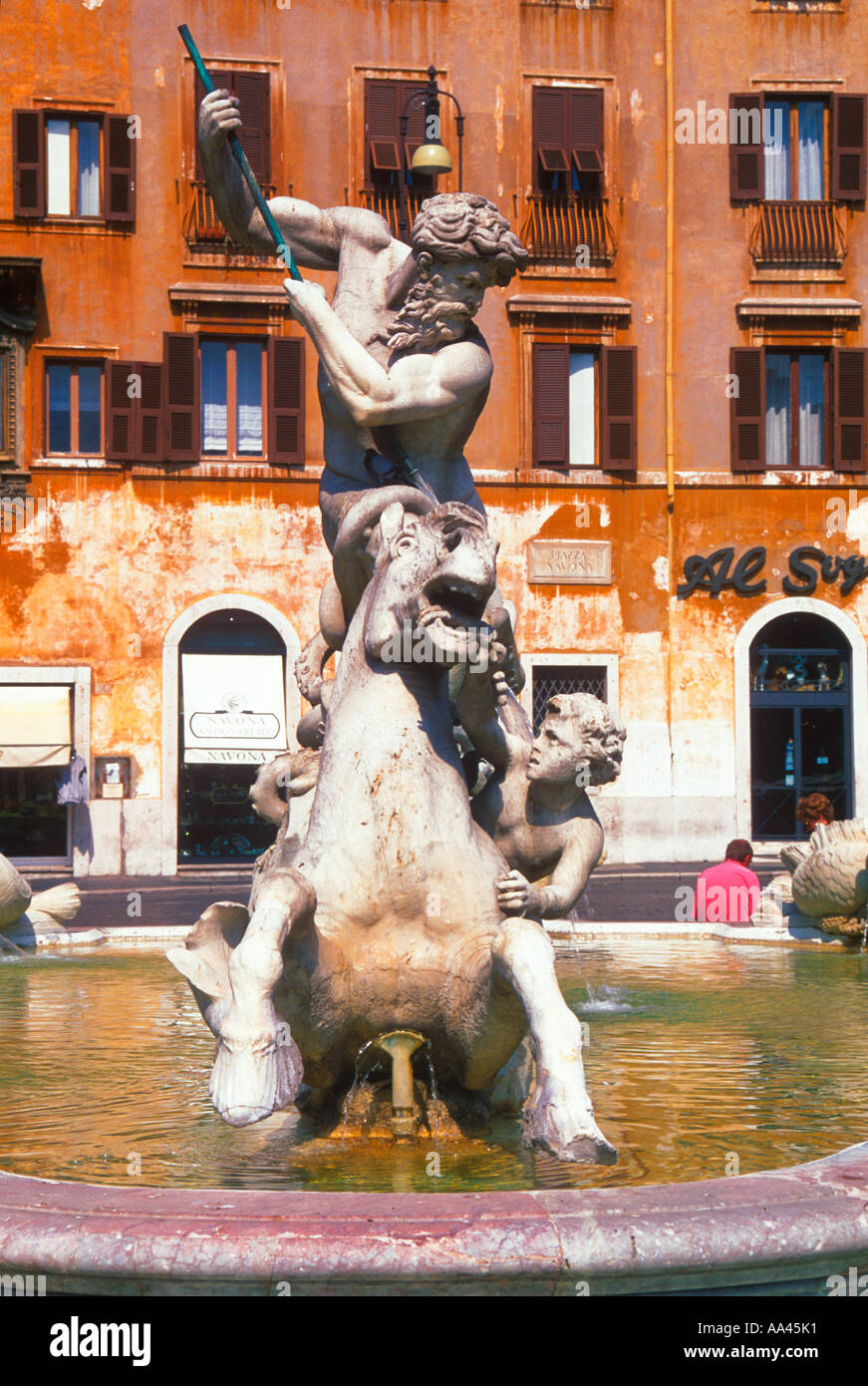 Rome Piazza Navona The Fountain of the Four Rivers by Giovanni Lorenzo Bernini Europe - Stock Image