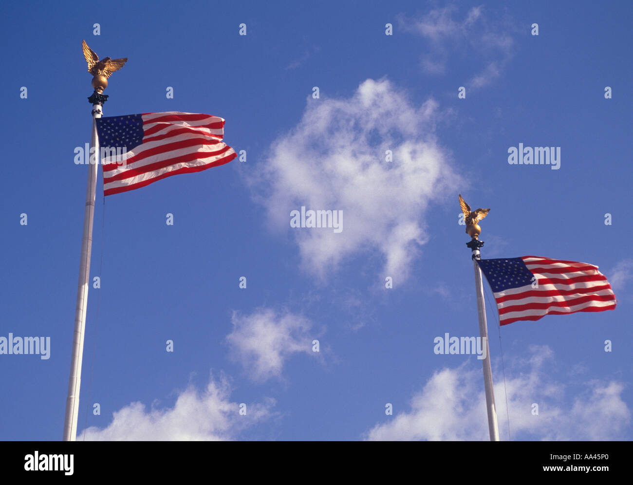 USA Two American Flags - Stock Image