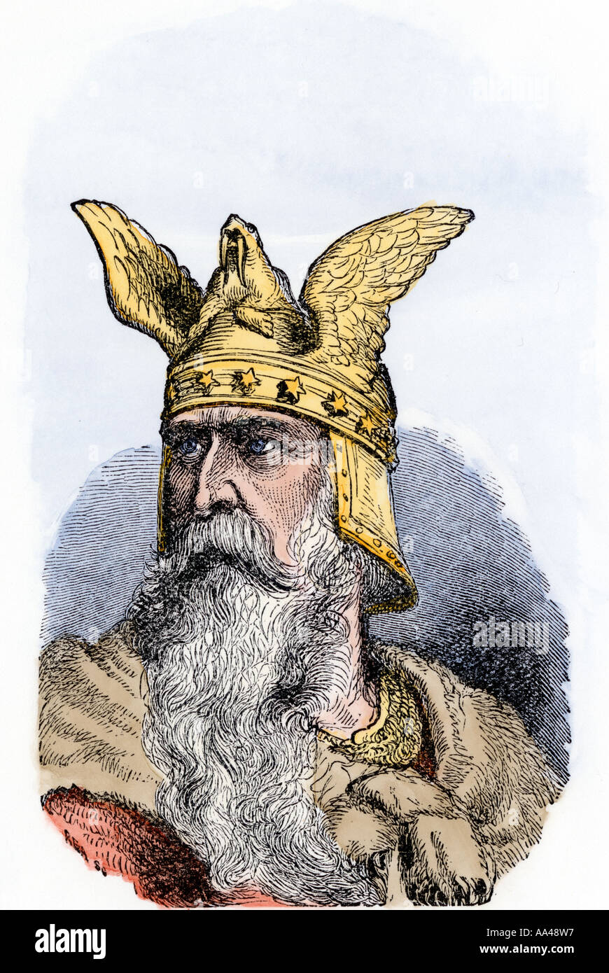 Norse sea king during the Viking era probably Olaf I. Hand-colored woodcut - Stock Image