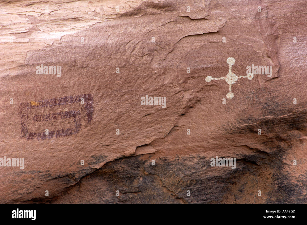 Anasazi or Ancestral Puebloan petroglyphs on cliff dwellings of Canyon de Chelly Arizona. Digital photograph - Stock Image