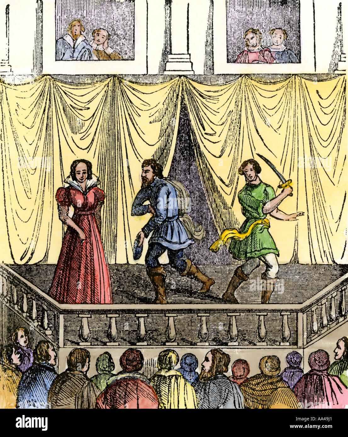 View of the stage and balcony in an Elizabethan theater. Hand-colored woodcut - Stock Image