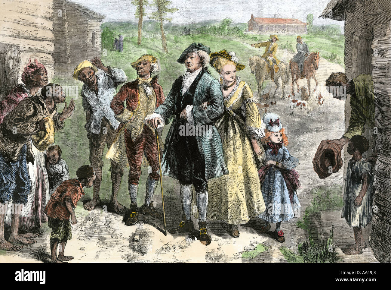 Slaves greeting plantation owner family visiting the slave quarters in Virginia 1700s. Hand-colored woodcut - Stock Image