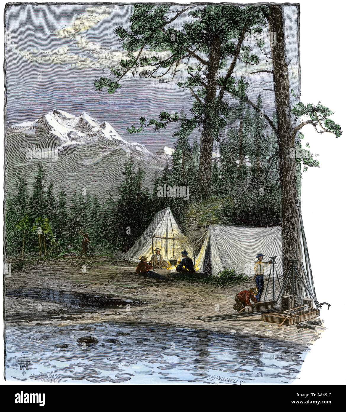 Surveyors for the railroad and their expedition in camp in the Rocky Mountains 1800s. Hand-colored woodcut - Stock Image