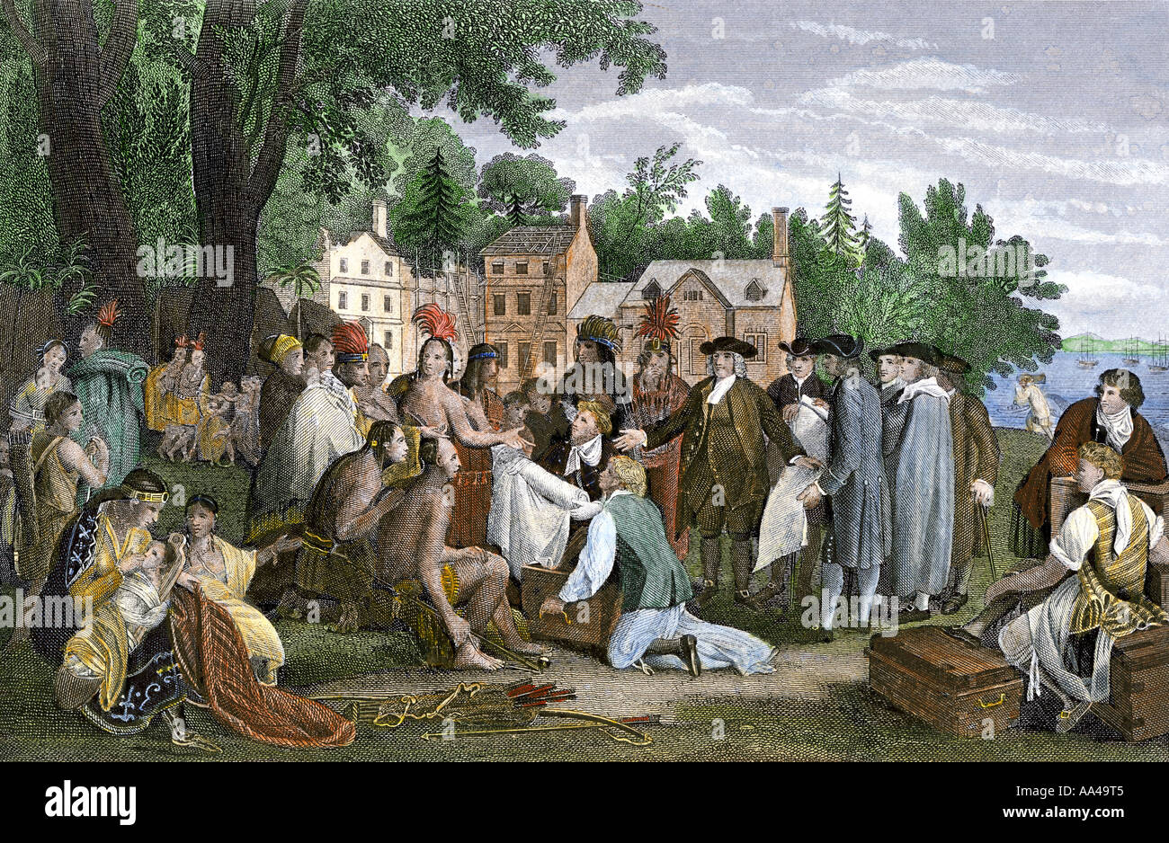 William Penn concluding a treaty with the Native Americans in Pennsylvania Colony. Hand-colored steel engraving Stock Photo