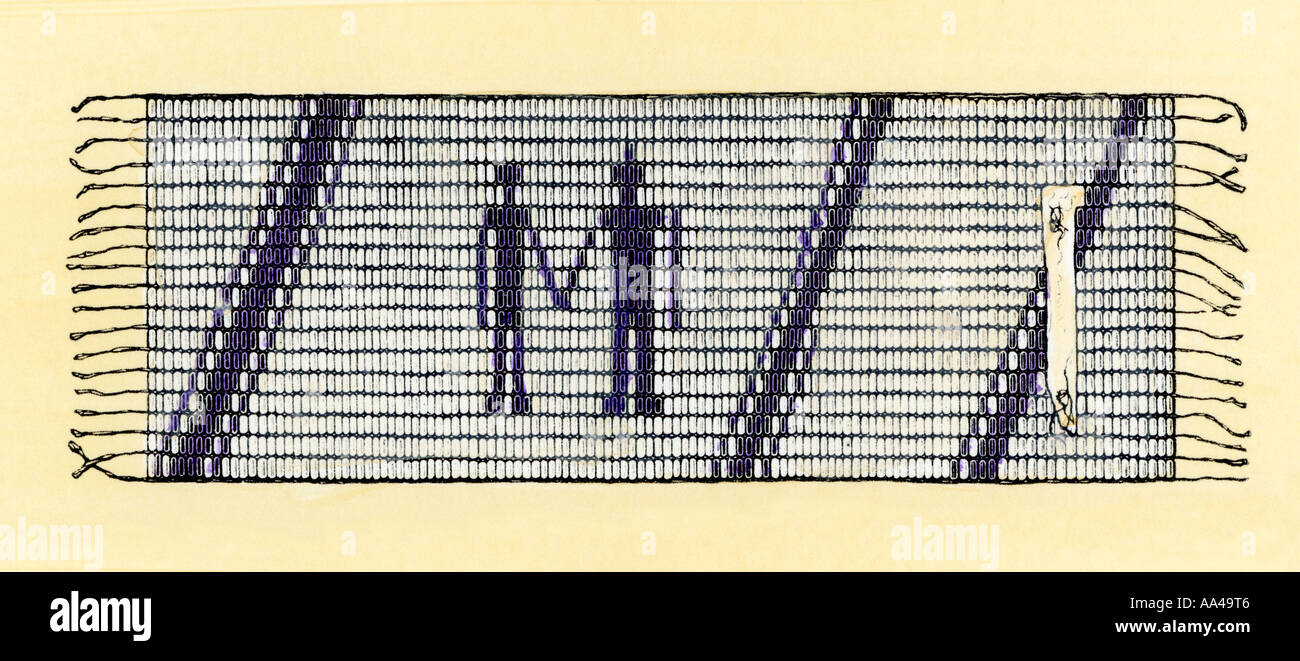 Wampum given by Native Americans to William Penn to seal their treaty in colonial Pennsylvania. Hand-colored woodcut - Stock Image