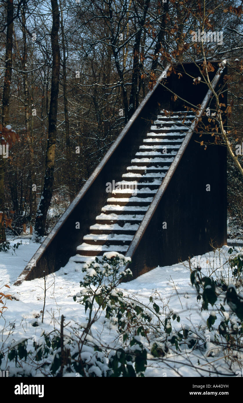 Snow Covered Staircase Sculpture In The Forest Of Dean