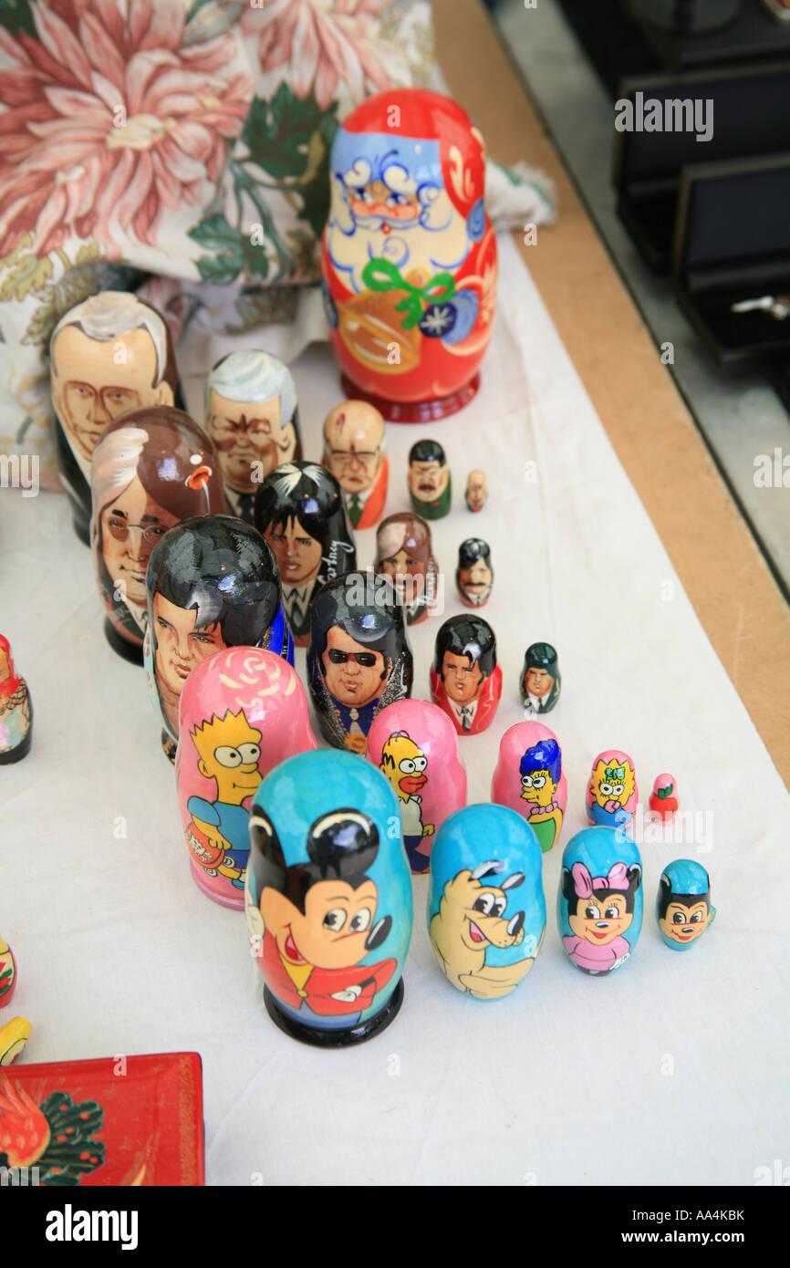 Russian dolls Wells market Somerset England UK Stock Photo