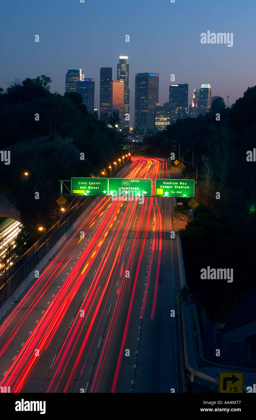 Traffic on the 110 Freeway into Downtown Los Angeles at dusk