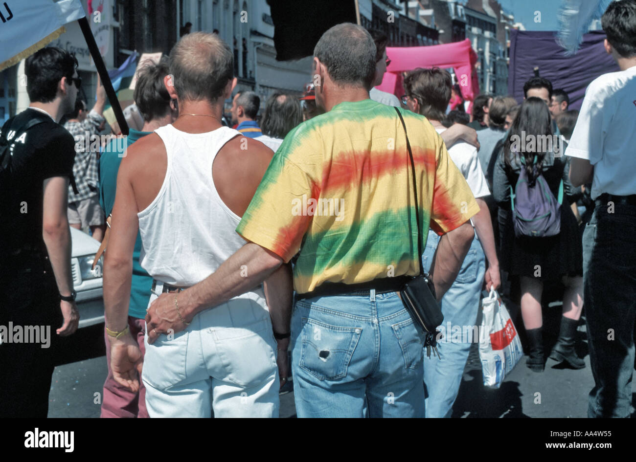 LILLE France, Male Gay Couple Marching  'Gay Pride' Parade Domestic Union Men From Behind - Stock Image