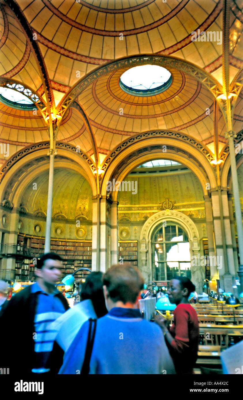 Paris France 'Main Public Library' 'Reading Room' 'Bibliotheque National' Richelieu Teens in Old Building 'Selective Focus' - Stock Image