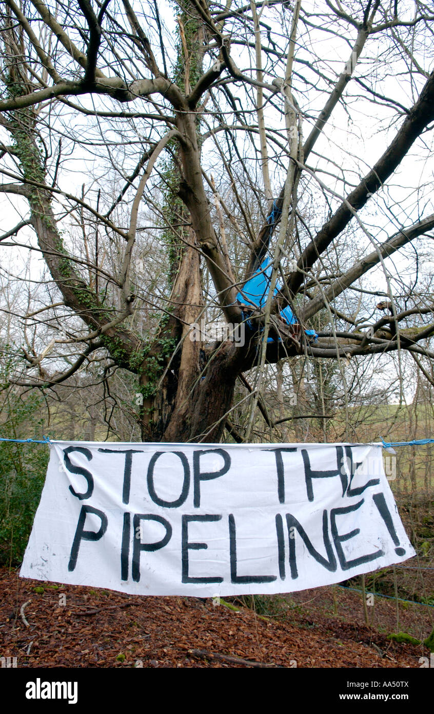 STOP THE PIPELINE banner LNG pipeline protestors camp at Penpont near Brecon Powys Wales UK - Stock Image