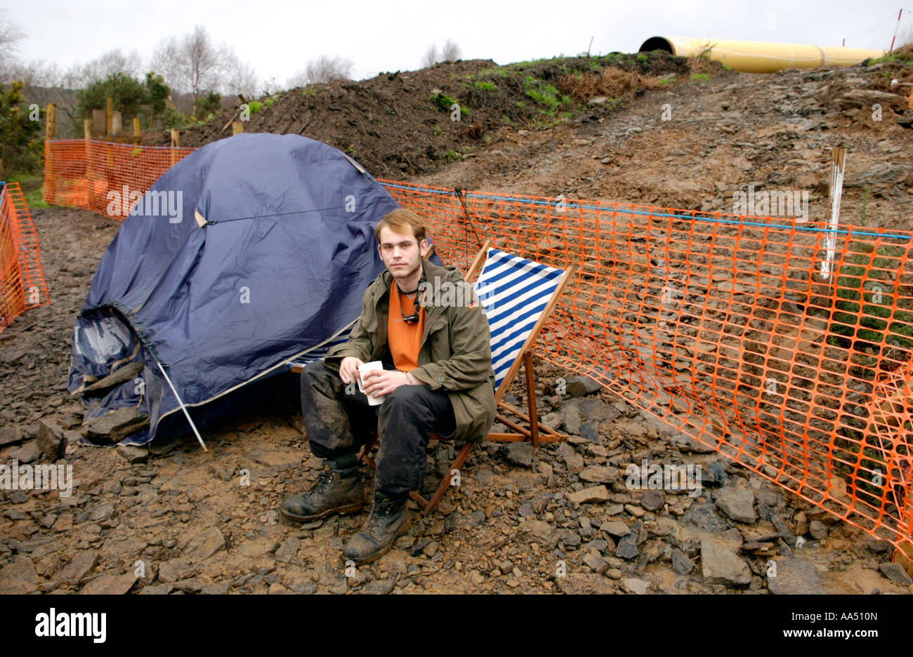 Eco Warrior LNG pipeline protestor living in tent on route of pipe at Trebanos near Neath South Wales UK - Stock Image