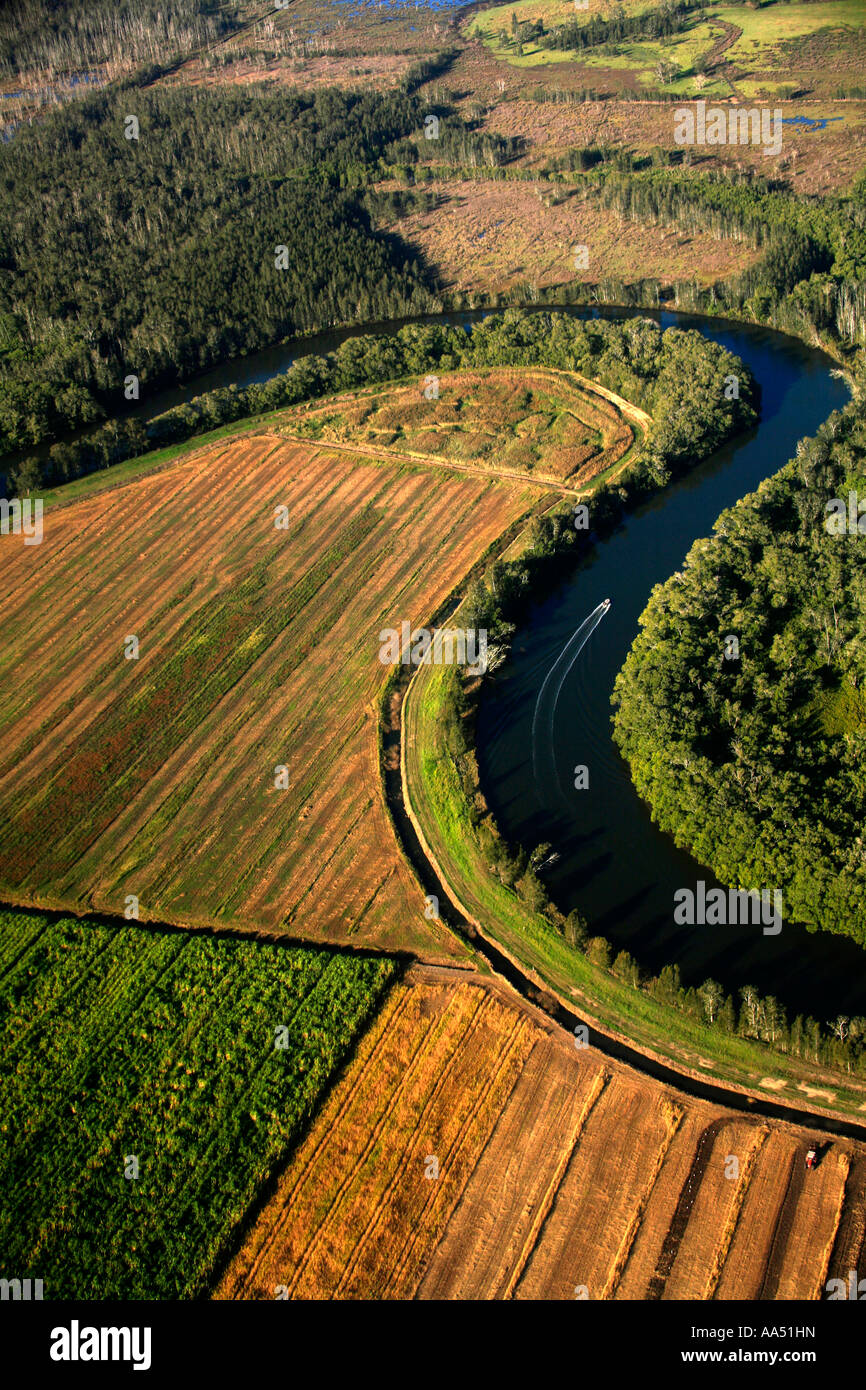 A river meanders through natural wetlands and a sugar cane plantation near Ballina in Northern NSW  Australia - Stock Image