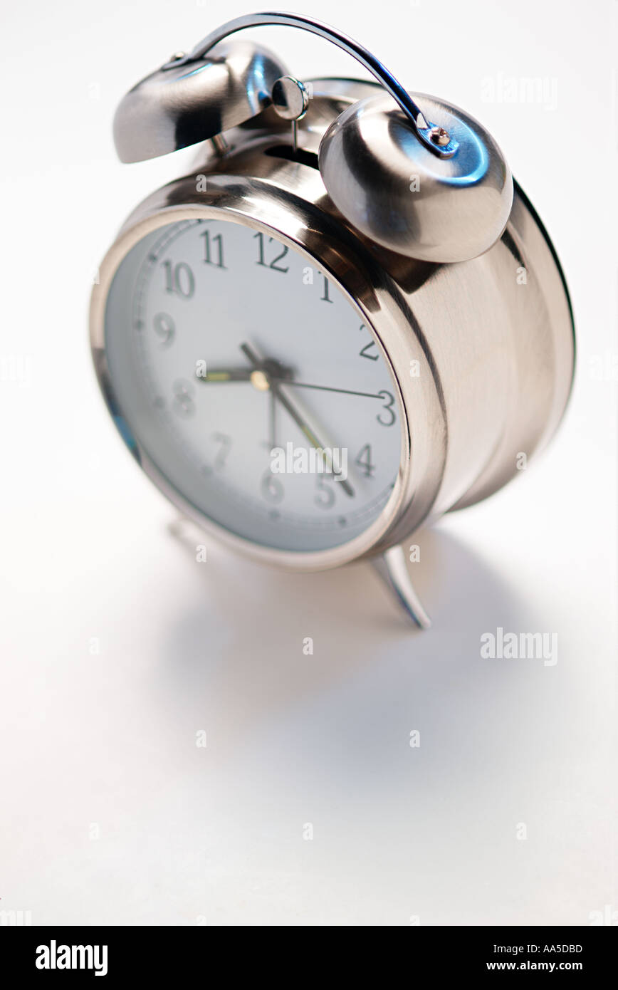chrome alarm clock - Stock Image