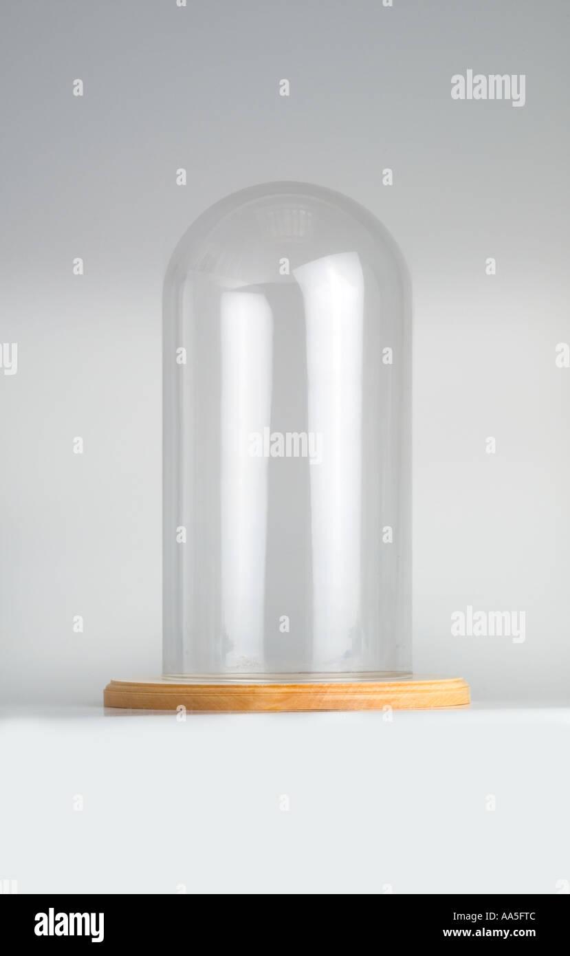 Empty Balljar Bell Jar on wooden base - Stock Image
