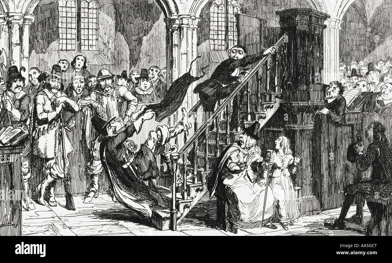 Reverend Holdenough during a service Engraving by George Cruikshank dated 1845 of scene from Sir Walter Scott's - Stock Image