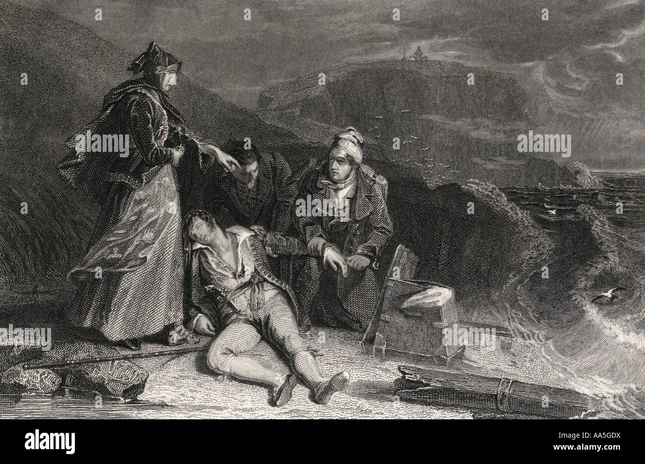Steel engraving by G Presbury from a drawing by A Chisolm of Cleveland s rescue from Scott s novel The Pirate - Stock Image