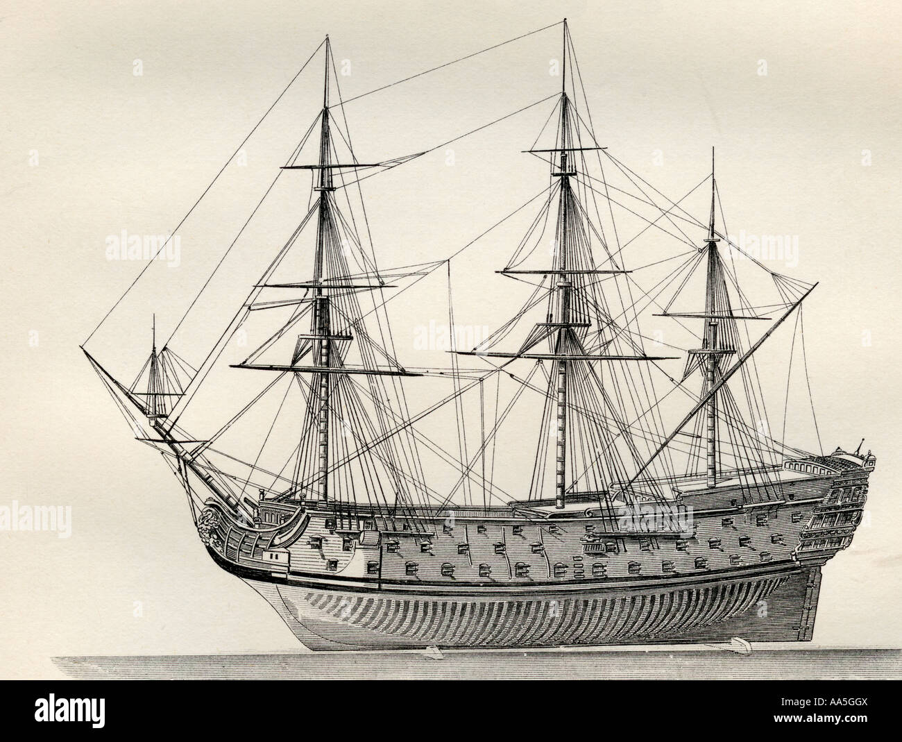 The Royal William English warship constructed 1670 - Stock Image