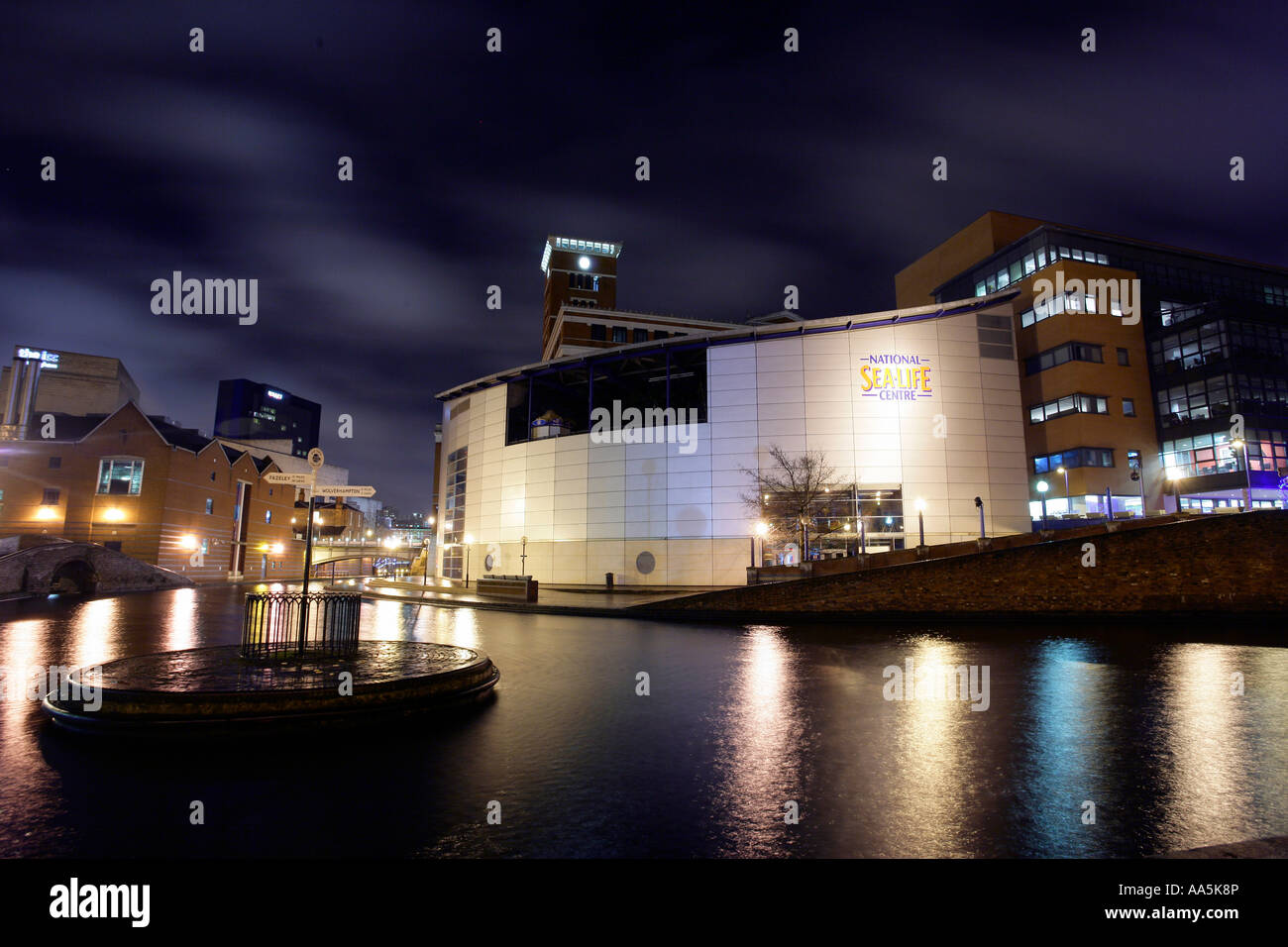 View of the canal area near to Brindleyplace Birmingham England Pictured is the National Sea Life Centre canals - Stock Image